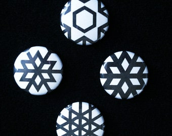 Hex Optic minis – Mini badge set featuring op-art geometry