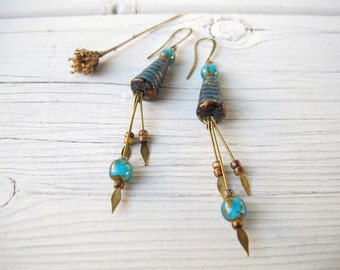 Summer Hive Earrings, Long Bohemian Dangles, Czech Picasso Glass, Hippie Bijoux, Rustic Boho Jewelry, Bright Blue, Cone Shaped, Coachella