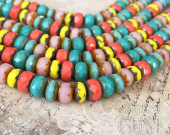 7mm x 5mm Czech Glass Picasso Bead Spacer Rondelle (25) Faceted Puffy Donut - Red Yellow Turquoise - Bohemian Summer - Central Coast Charms