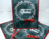 Merry Christmas Greeting Cards - Have Yourself a Merry Little Christmas - Set of 4 Handmade Paper Cards, 4x6 Notecards