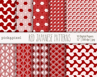 Red Japanese Patterns, Geometric Paper Pack, Red Papers, Printable Pack, Digital Papers
