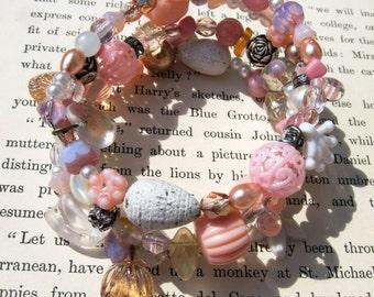 Pink Shabby Chic Mixed Bead Wrap Bracelet