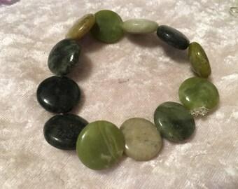 Serpentine Bracelet, Disk Bracelet, Stretch Bracelet, Beaded Bracelet, Green Bracelet, Gemstone Bracelet, Gift for Her, Serpentine Jewelry