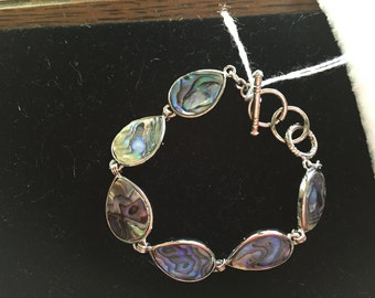 Abalone Bracelet, Teardrop Bracelet, Shell Bracelet, Abalone Shell, Silver Bracelet, Gift for Her, Adjustable Bracelet, Shell Jewelry
