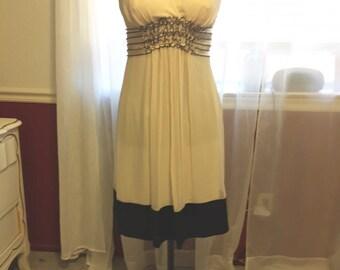 Ivory Chiffon Dress with Black Detail, size 8P