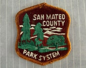 """Irregular Imperfect Big Vintage 3.5"""" SEW ON Patch San Mateo County Park System California Embroidered California Park Patch Travel Souvenir"""