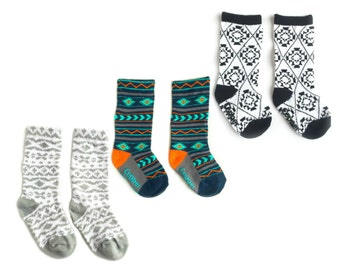 Baby and toddler knee high socks package of 3 Baby socks  Boot Socks in Aztec prints baby shower gift baby gift nordic print