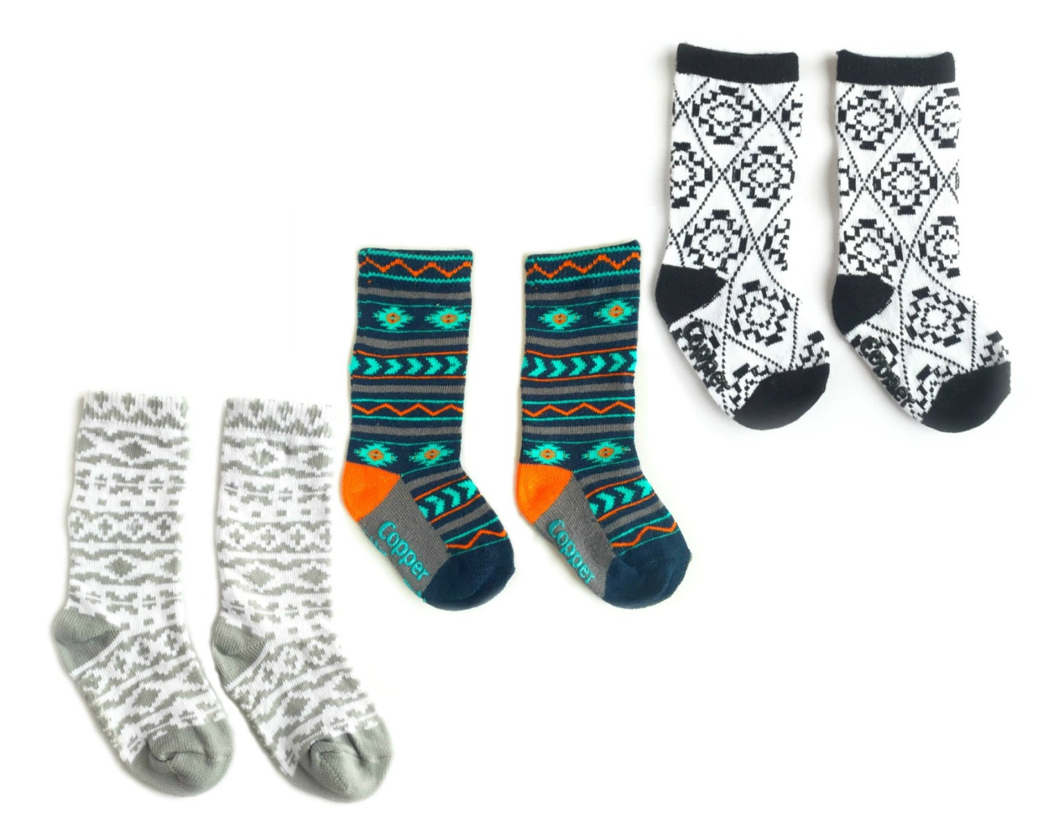 Baby and toddler knee high socks package of 3 Baby socks Boot