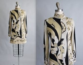 Vintage Paganne Dress // Vintage 70's Signed Abstract Print Jersey Mini Dress S