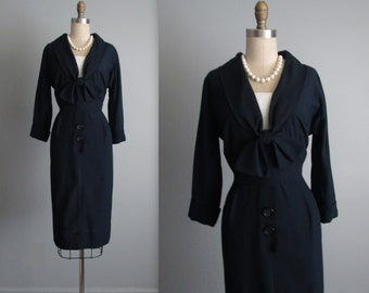 50's Secretary Dress // Vintage 1950's Navy Rayon Fitted Secretary Day Dress S