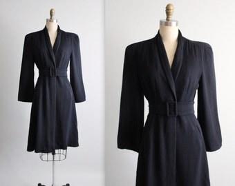 40's Navy Jacket // Vintage 1940's Navy Gabardine Wool Wrap Dress Coat  S M