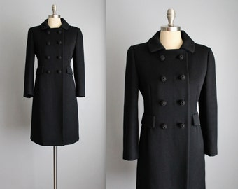 60's Mod Coat // Vintage 1960's Vogue Mod Black Wool Military Coat S M