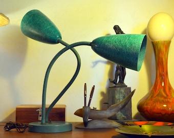 Vintage Double Gooseneck Table Lamp: Tall, Atomic MCM Green Fiberglass Cone Adjustable Desk Light Fixture -- Works Great!