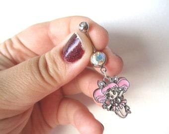 Sailor Moon Belly button Piercing - CHIBI MOON Belly iridescent button jewelry - Sailor Moon Belly ring