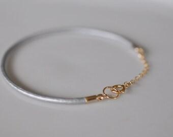 Silver Leather Bracelet, String Bracelet, Thin Leather Bracelet, Cord Bracelet, Stacking Bracelet