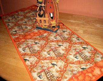 Harvest Scarecrow Reversible Quilted  Table Runner