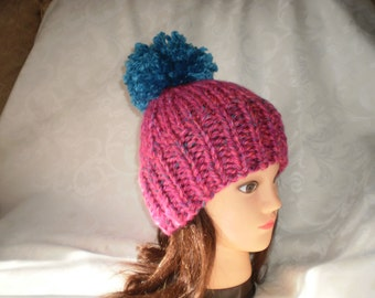 Wintry Knitted Teen Hats with Large PomPoms