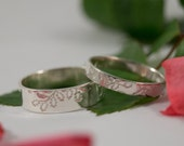 Oak Leaf Wedding Bands: A Set of his and hers Sterling silver Oak leaf textured wedding rings