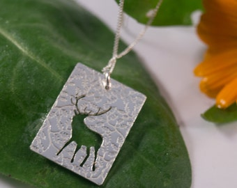 Silver Stag pendant: Handmade in Sterling Silver