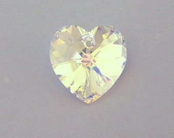 Swarovski crystal AB heart pendant, 18mm crystal AB heart, aurora borealis, large clear crystal heart