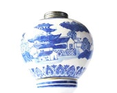 Oil lamp, blue and white lamp, Ceramic, Blue White china, Victoria Ware, Flow Blue Victoria Ironstone, Chinoiserie, Kitchen Lighting,
