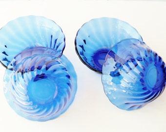 Bowls, Clear Cobalt Blue Glass, Swirl Design, Set of Four,