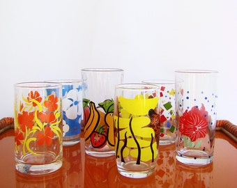 Mismatched 1970s Glasses, 70s Drink Glasses, Glass Tumblers, Bright Colours, Mix and Match, Retro Bar,