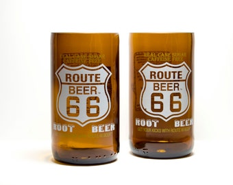 Route 66 Root Beer Soda Bottle Drinking Glasses Tumblers