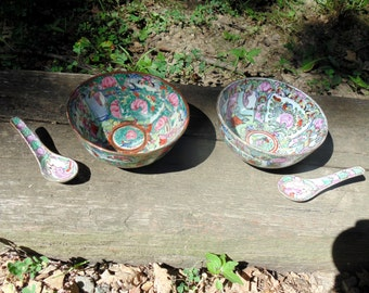 oriental porcelain bowls and spoons hand decorated mid century hong kong P.C.T. & A.C.F.