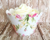 24 floral cupcake wrappers, pink and cream flower cupcake wrappers, country floral wrappers, country wedding flower wrappers