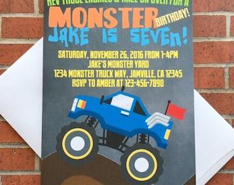 12 monster truck birthday invitations with envelopes, truck birthday birthday invites, monster truck invite, printed chalkboard invitation