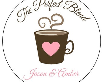 the perfect blend stickers, custom wedding stickers, custom perfect blend wedding stickers, pink and brown wedding labels, 3 sizes available