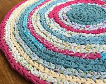 Round Nursery Area Rug Recycled T Shirt and Textiles Yarn Pink and Aqua Rug