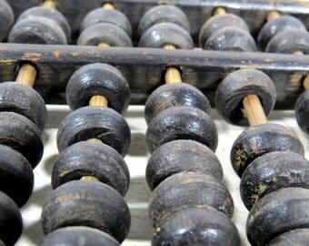 Antique Primitive Japanese Soroban Abacus, Wood and Brass, Rustic Office & Home Decor, Ancient Math Calculator