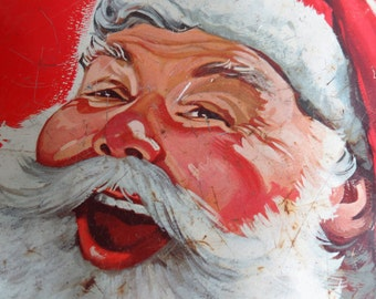 Santa Claus Vintage Cookie Tin, Large Mrs Stevens Santa Face Tin, Christmas Decor, Storage, Gift Box, RED & White
