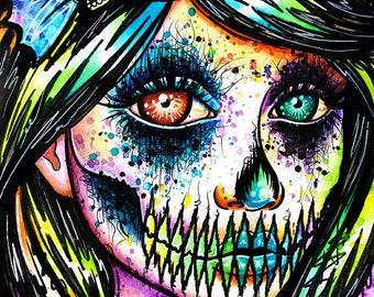 Signed Art Print Pop Art Rainbow Skull Splatter Portrait - Electrocity by Carissa Rose - 5x7, 8x10, or Apprx 11x14