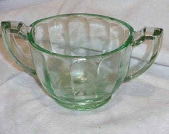 Vintage Green Depression Glass Sugar Bowl