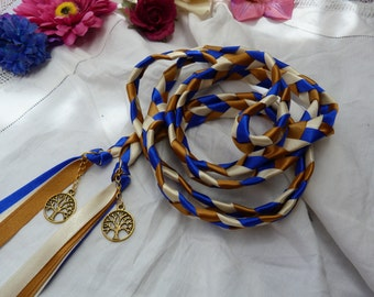 Wedding cord- royal blue, ivory gold - tree of life charms