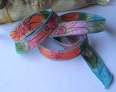 Hand Painted 100% Silk Ribbon Wrap/Painted Orange Pink Flower Design/Silk Fairy Ribbon/Hand Dyed with Ink Design/DIY Bracelet/Jewelry Supply