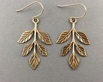 Leaf Earrings In Antique Gold With Drop Leaf Charms