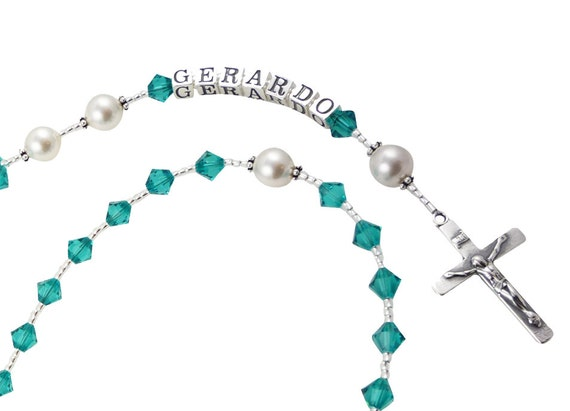 Birthstone Rosary, Blue Zircon, First Communion Catholic Prayer Beads/ Crucifix Cross/ Holy Godparent Gift,  Boys and Girls, Birthstone