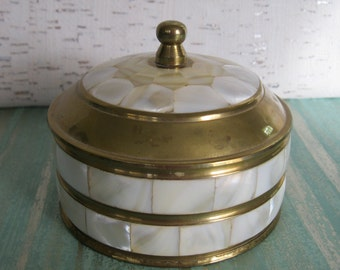 Brass and Mother-of-Pearl Jewelry or Trinket Box / Vintage Box With Cover