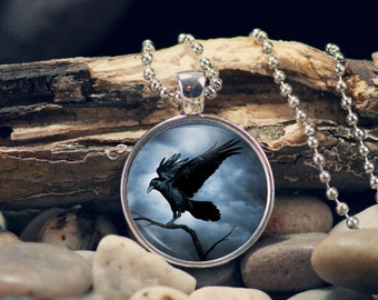 Gothic Crow Pendant, Gift for Her