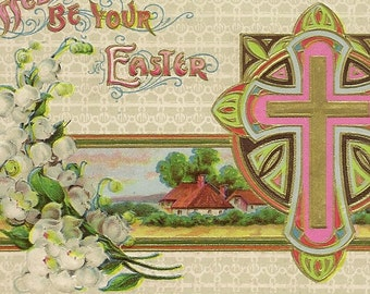 Colorful P Sander Embossed Vintage Easter Postcard –Pink and Gold Cross Country Scene and Spring Lily of the Valley 1912