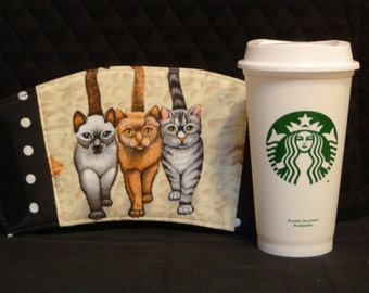 Arti REVERSIBLE Coffee Cup Sleeve, for STARBUCKS To-Go Cups Beach KITTIES with Pocket