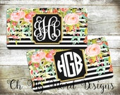 Monogram Car Tag-Personalized License Plate-Monogram Car Tag-Monogrammed License Plate-Flower Car Tag