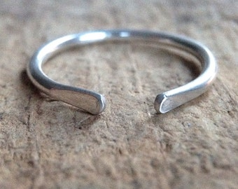 Sterling Silver Ring, Silver Horseshoe Ring, Paddle Cuff Ring, Stackable Ring, Boho Luxe Jewelry, Bohemian Ring, Bohemian Jewelry