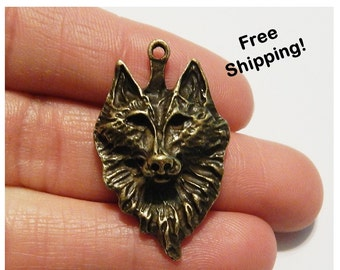Set of 2 - Large Gold Wolf Charm