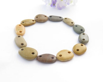Beach Stones Small Connectors- Organic Beads-Jewelry supplies Rare Double Drilled Smooth Pebbles for Bracelets Diy