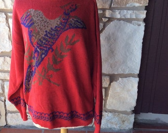 Vintage pictoral sweater PHEASANTin Flight M